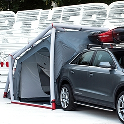 Audi Q3 Camping Tent Concept by Heimplanet - inflatable in 7 minutes, attaches to the trunk if desired, a wind load rating of up to 70 km/h.