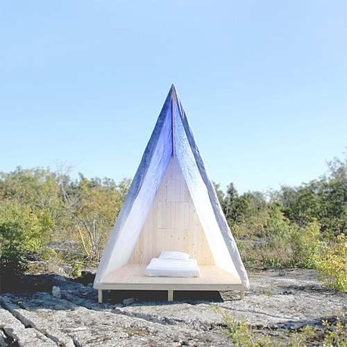 Wax-On Tent - a collaboration between Featuring-Featuring and Avantika Agarwal. A custom waxed cotton tent cabin for designers on holiday on the idyllic island of Gotland