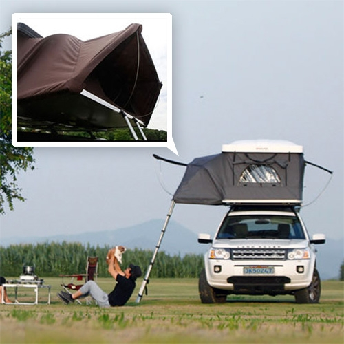 "iKamper Hardtop One - ""The World's First Expandable Hard-Shell Roof Top Tent"" - A fascinating hybrid of pop top hardshell roof top tent and the shape of a more traditional flip open roof top tent."