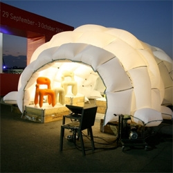 Bazar Tent made of Inflated Airbags sewn together by Lambert Kamps