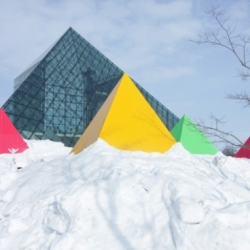 "By Japanese designer Akasaka Shinichiro Atelier, the pyramid-shaped tents have successfully created an interesting skyline to its surroundings, making the ""Snow Scape"" more attractive."