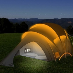 The Concept Tent designed in association with Kaleidoscope and builds on learnings from the original Orange Solar Tent that was trialled at Glastonbury in 2003, as well as 2004's Orange Text Me Home Dome.