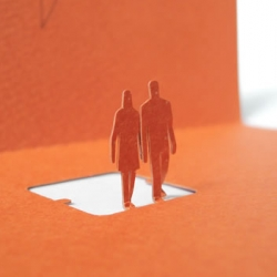 Sweet little people deliver your messages for you! 1/100 Paper Model series now in greeting card form by Naoki TERADA.