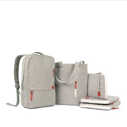 Incase's Terra collection made from natural materials with playful oversized zippers.