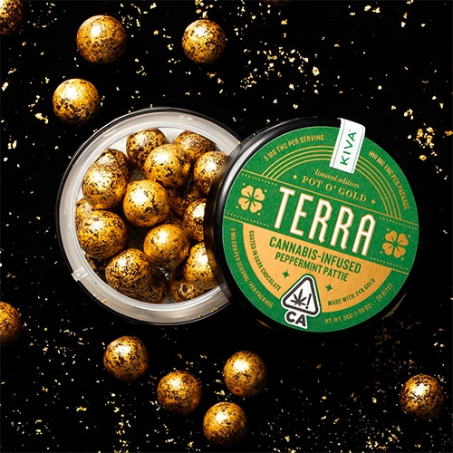 Terra launches Pot O'Gold Cannabis Infused Peppermint Pattie limited editions of their popular Terra Bites. They are peppermint fondant covered in dark chocolate then coated with 24kt gold.