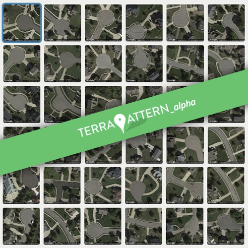 Terrapattern - a visual search tool for satellite imagery by Golan Levin, David Newbury, Kyle McDonald, Irene Alvarado, Aman Tiwari, and Manzil Zaheer. Here's an example of a search for cul-de-sacs near Pittsburgh.