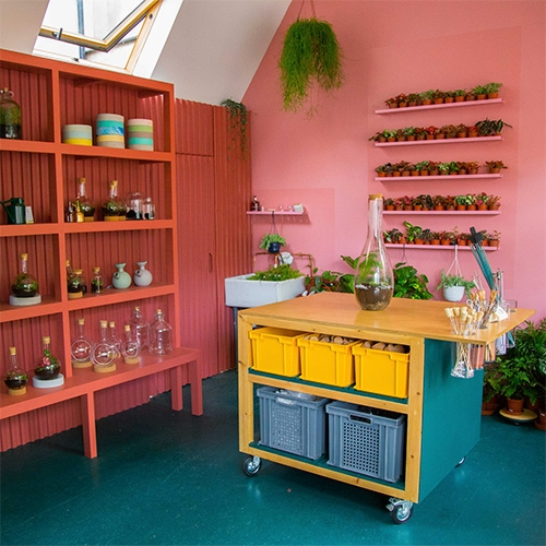 London Terrariums Shop and Studio just opened, and its popping interior was inspired by an Instagram photo. You can purchase terrariums as well as join workshops to create your own at this cute new space.