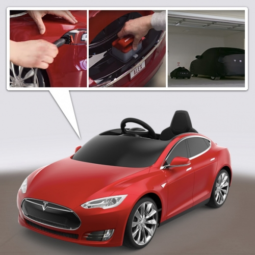"Tesla Model S for Kids by Radio Flyer. On surprising mashups... you can pre-order this 81lb $499 Tesla. Complete with ""frunk"", headlights, battery, sound system... and you can choose your paint, wheels, car cover, license plate and more."
