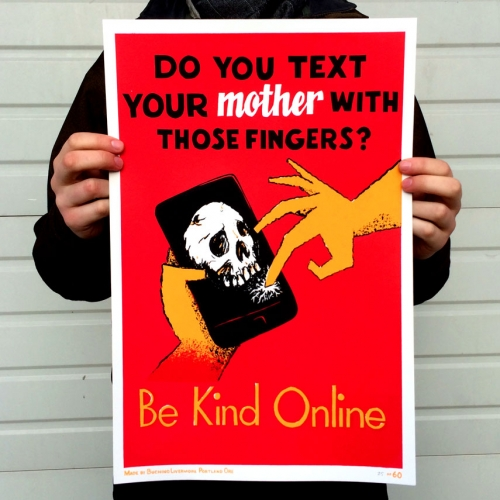 Do you text your mother with those fingers? This WPA-style collaborative print by BT Livermore & Michael Buchino was made without computers. Free download available.