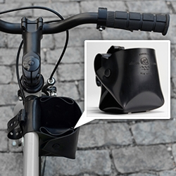 Bicycle Cup Holder by Death At Sea, Brooklyn, NY. Made of high quality die cut black silicone rubber that cleans easily.