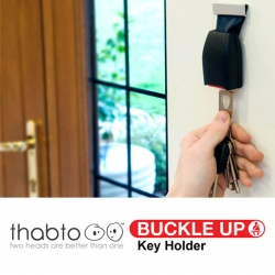 Thabto's Buckle Up Key Holder. This wall mounted key holder is produced from discontinued car seat belt buckles.