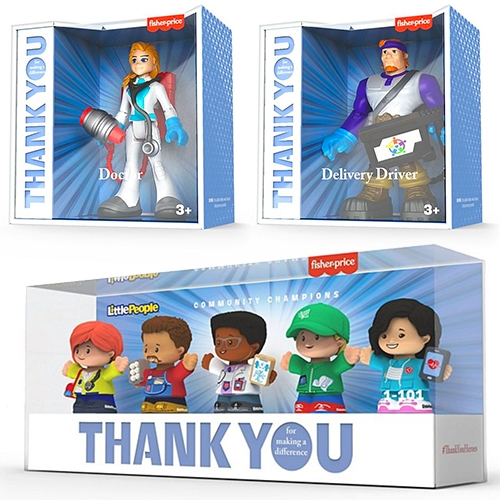 Mattel 'Thank You Heroes' collections of superhero (doctors, nurses, delivery drivers, EMTs) and 'Community Champions' set of Little People (a doctor, a nurse, an emergency medical technician, a delivery driver and a grocery store worker)