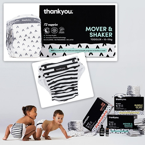 thankyou. Baby Modern Cloth Nappies and Disposable Nappies. In addition to their food, water, and body goods - their baby line has the cutest packaging and black and white diaper designs.