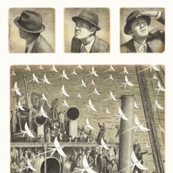 The Arrival by Shaun Tan is a picture book written entirely without words. I love the illustration style, and their use as rich sepia-toned pictograms.