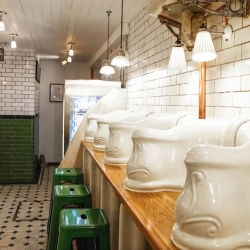 Located under Foley Street in London, Attendant is a transformation of a Victorian toilet from the 1890s, and remnants of its past are still discernable in its interior décor.
