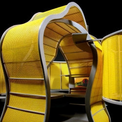 The Chameleon Workplace by Michael Jantzen was designed to replace the conventional office cubical with an exciting organic alternative space in which to work. The entire structure changes its color at the press of a button!