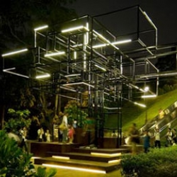 The Tree is a reconstruction from a series of interlocking frames with lights that grow according to the environment sounds level of the Banyan Tree on the front lawn of the National Museum of Singapore.