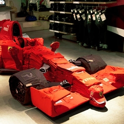 A Ferrari Grand Prix car made out of 1500 T-shirts and 88 pairs of jeans