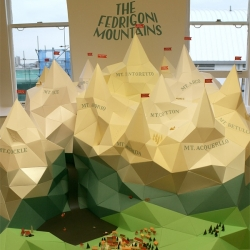 Graphic Designer and Art Director Alex Ostrowski, and Illustrator and Set Maker Hattie Newman have just finished building The Fedrigoni Mountains, an impressive model mountain range, fashioned using Fedrigoni papers.