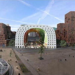 The Markthal is the first covered , permanent food market in the Netherlands and a new icon for Rotterdam, a public building emerging from housing.