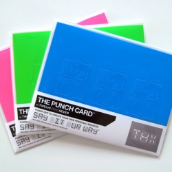 THE PUNCH CARD™ – The three character say-whatever-you-want card. Punch out the perforated pieces to create your own personal message. Use letters, numbers, glyphs or design your own pattern.  SAY IT UR WAY™