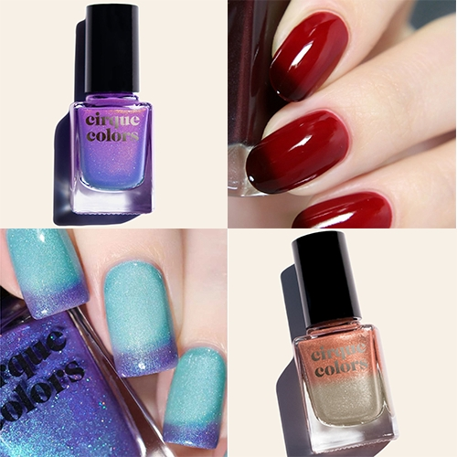 Cirque Colors THERMAL collection of nail polishes change color when warm/cold, and are sensitive enough that your tips can often show the cooler color when you're warm.