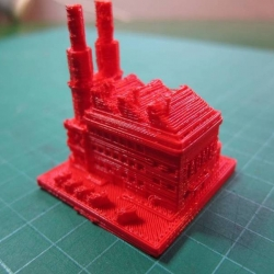 A set of 3D-printed buildings based on the virtual urbanisms of Sim City 2000.