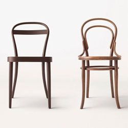 'Muji manufactured by THONET' is a collection of simplified, stylized Thonet designs made of bentwood and tubular steel, available exclusively at Muji stores in Japan, Germany, Paris and the UK.