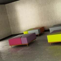 Threesome Ottoman, it can be used as an ottoman, coffee table or as a pouffee. Designed by lab::istanbul.