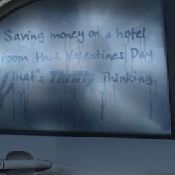 """Saving money on a hotel room this Valentines day now that's Thrifty thinking."" I know it is a bit late for Valentines day, but this is such a good ad. JWT Sydney has teamed up with Thrifty rental cars to produce these print ads."