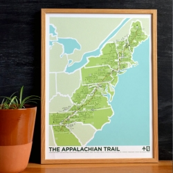 "The Appalachian Trail print by Brainstorm Prints & Goods is an 18""x24"" 4 color screenprinted poster that illustrates and documents the most memorable spots on the AT for both section and thru hikers."