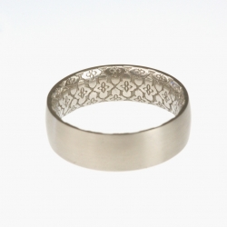 From bespoke goldsmiths Da Capo in Dublin; a printed titanium ring with decoration completely unbroken covering the entire inside of the ring...