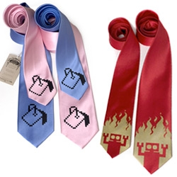 Diesel Sweeties branches into TIES! From our favorite iconic paint bucket pixels to a red robot emerging from the flames... (also there are now squid socks!)