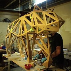 Animal Instinct. The making-of geometric wooden animal sculptures for the Peugeot showroom by the Wood & the Gang: A French Designer & Maker Collective.