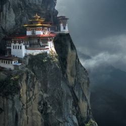 Amazing photograph of Tiger's Nest monastery above the Paro valley, a place of pilgrimage for Buddhists, taken by Leo Palmer.