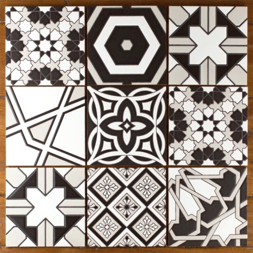 Fireclay Tile introduces a lovely new Black and White Handpainted Collection