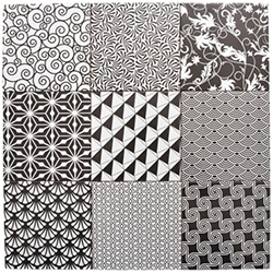 Alhambra Home Picasso Monochrome Patchwork Tiles in Black and White