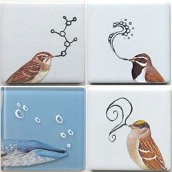 Deadbird tile wall hangings are such a cute mix of tile, painting, doodle.