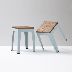 Timber Tuck Stool features the geometric lines of the original Tuck Stool, integrating a natural element in the timber top.