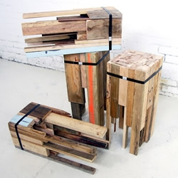 These Offcut Bar Stools are part of a Melbourne based exhibition that features 10 architects, each using 10 different types of recycled materials are these wonderfully rustic bar stools, courtesy of Edwards Moore Architects.
