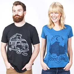 "Camp Brand Goods Good Time Van shirt/sweatshirts celebrate pop top camper VW vans! (And ""It's a good time for a good time""!)"