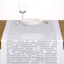 While waiting for your wife to cook, put your plate, where necessary and start reading 300 riddles on this Take Your Time table cloth.