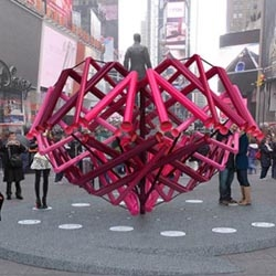 This year's Times Square interactive Valentine Heart sculpture is Match-Maker by Young Projects.