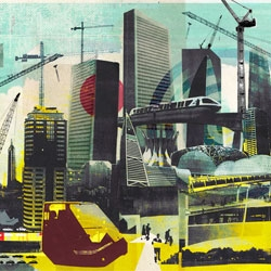 Cities, present and future - A cool collage by Tim Marrs to appear on the front page of the FT.