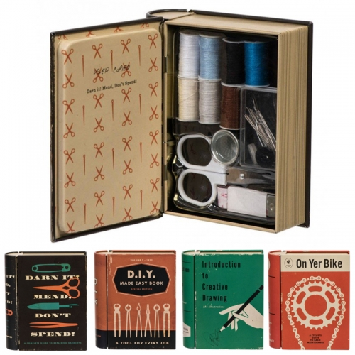 Jay's Pocket Folios. Adorable book shaped tins with vintage book cover graphics and filled with sewing kits, coloring pencils, bike tools, and more.