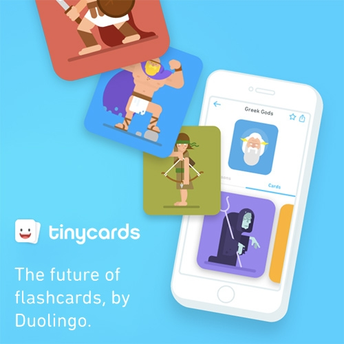 Tinycards by Duolingo. A fun new way to learn things through adorable digital flashcards. Learn pre-made lessons, or make your own decks!