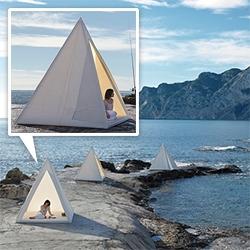 Gandia Blasco Tipi/Wigwams - an angular take on a traditional teepee, these stark white prisms are beautiful. Designed by José A. Gandia-Blasco.
