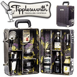 Tipplesworth Traveling Cocktail Cases - everything you need to make Old Fashioneds, Apple and Elderflower Martinis, and Brambles in vintage styled suitcases.