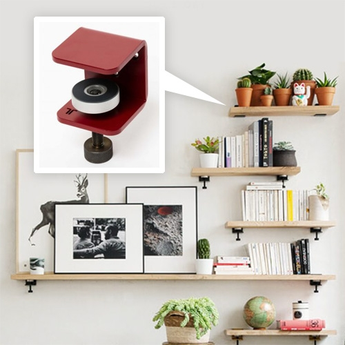 TIPTOE Wall Brackets - powder-coated steel brackets with screw clamps that allow you to create and customize a myriad of shelving options... lovely, as long as no one gets itchy fingers with the clamps!