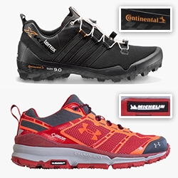 Interesting trend of tire companies making shoe soles? Continental for Adidas Terrex X-King and Michelin for UnderArmour Verge Low GTX.